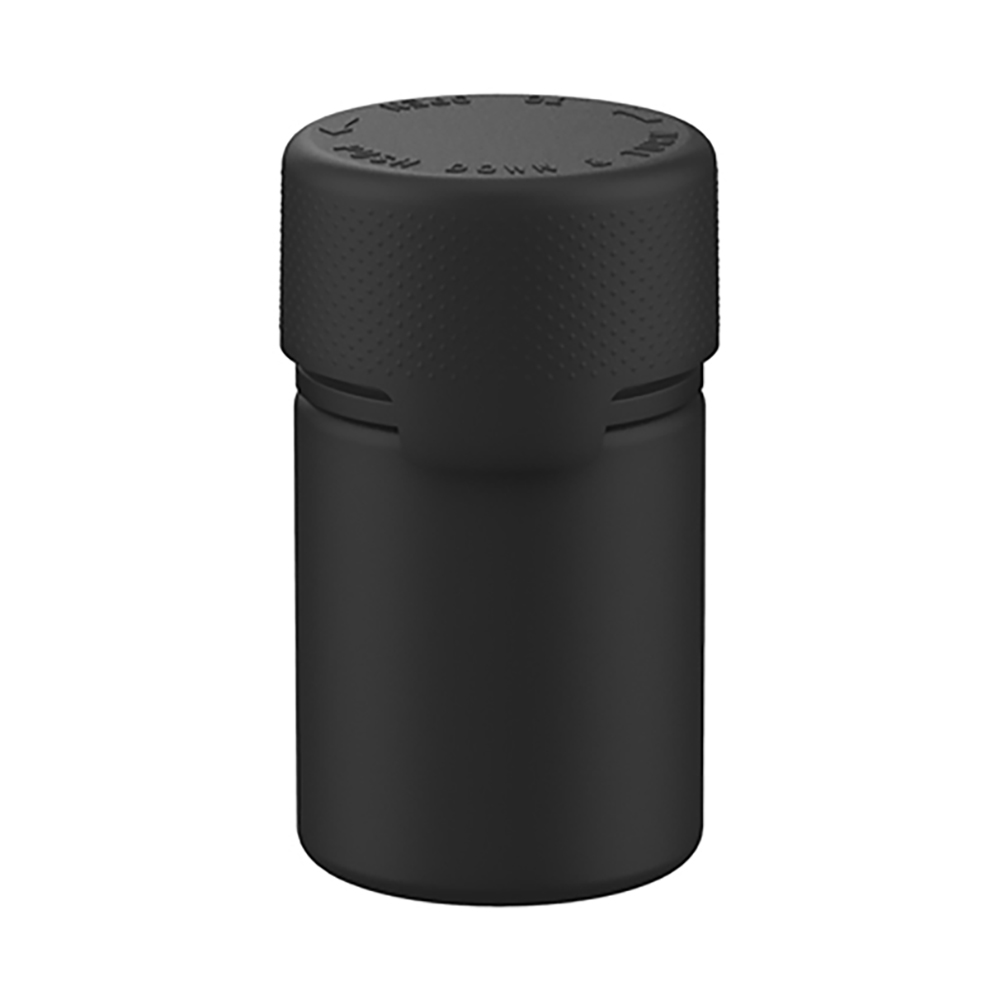 60mL Translucent Black PET Stubby Aviator Bottle with Black CR Cap & Seal