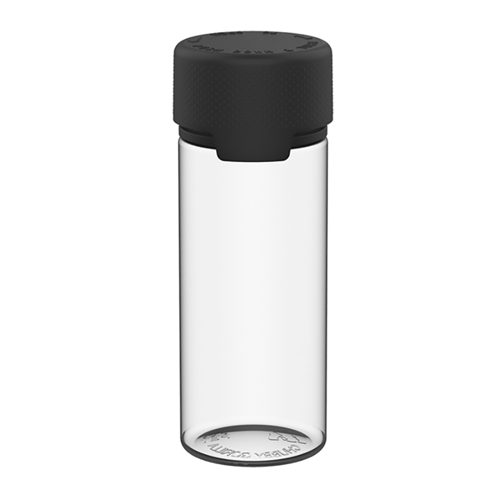 120mL Clear PET Aviator Bottle with Black CR Cap & Seal