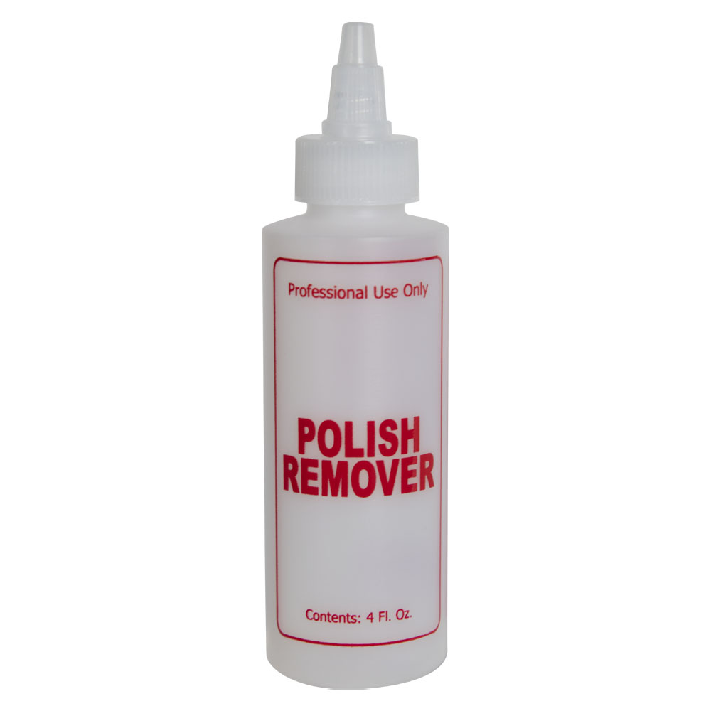 """4 oz. Natural HDPE Cylinder Bottle with 24/410 Twist Open/Close Cap & Red """"Polish Remover"""" Embossed"""