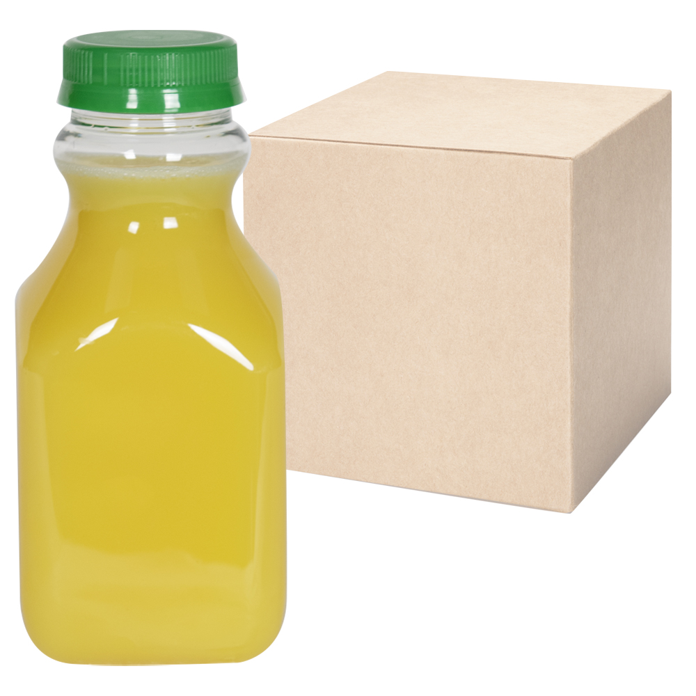16 oz. Clear PET Square Bottles with 43mm Tamper Evident Caps - Case of 96