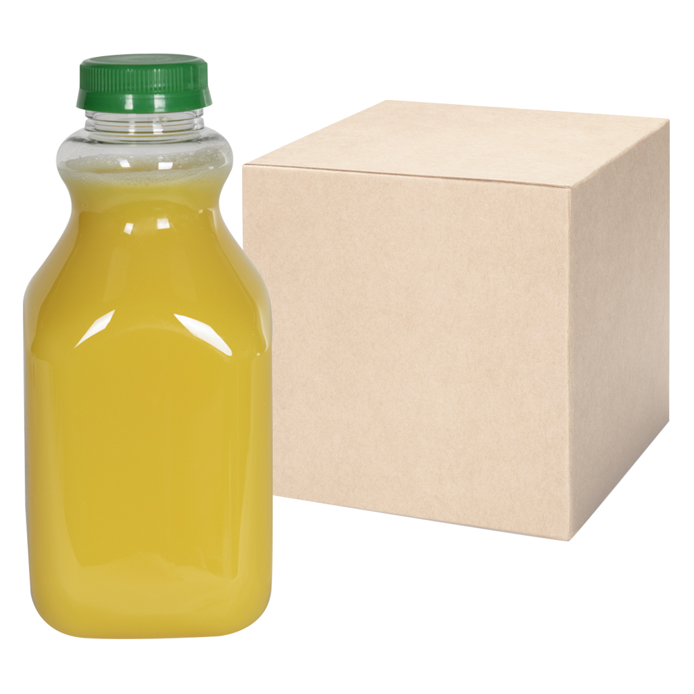 32 oz. Clear PET Square Bottles with 43mm Tamper Evident Caps - Case of 36