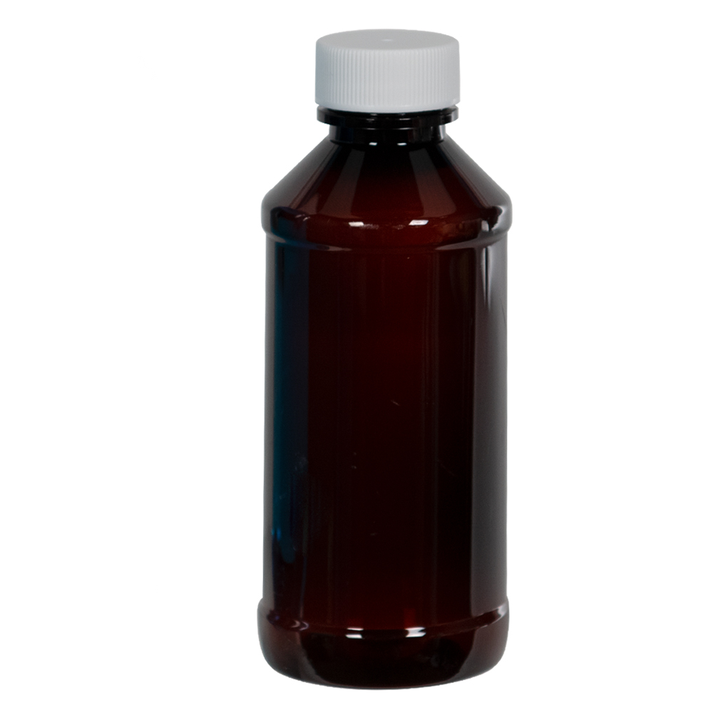 4 oz. Modern Round Amber PET Bottle with 24/400 Plain Cap