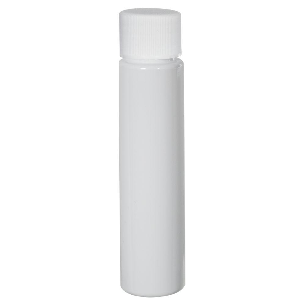 1 oz. White Slim PET Cylinder Bottle with 20/410 Plain Cap