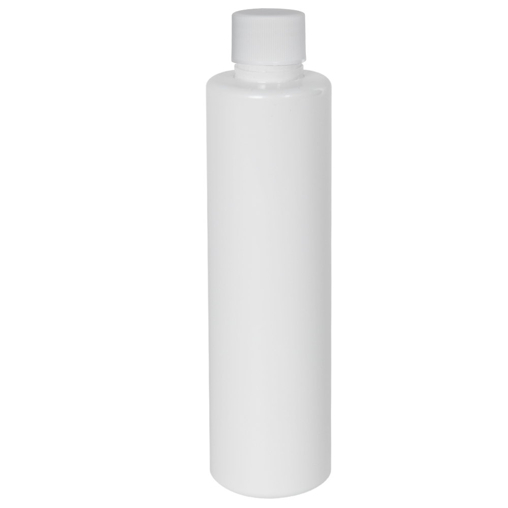 6 oz. White Slim PET Cylinder Bottle with 24/410 Plain Cap with F217 Liner