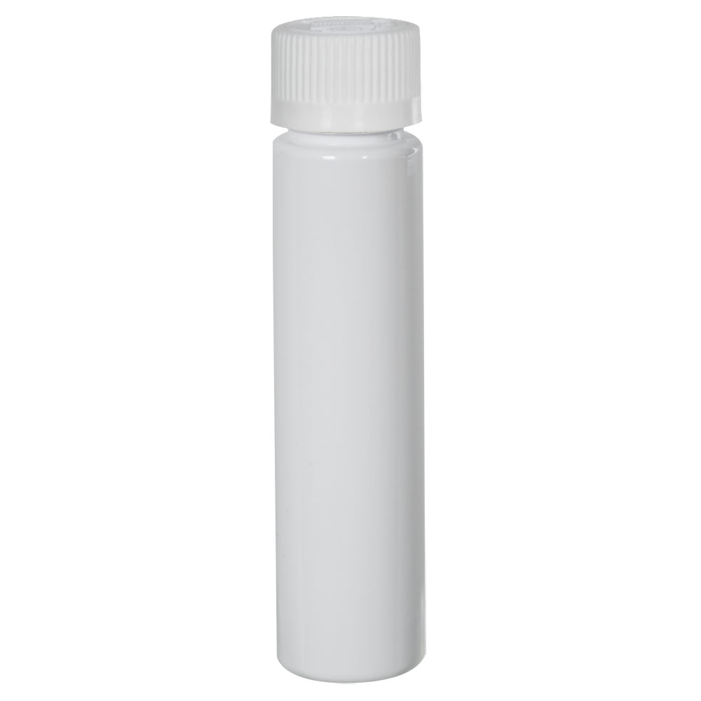 1 oz. White Slim PET Cylinder Bottle with 20/410 CRC Cap