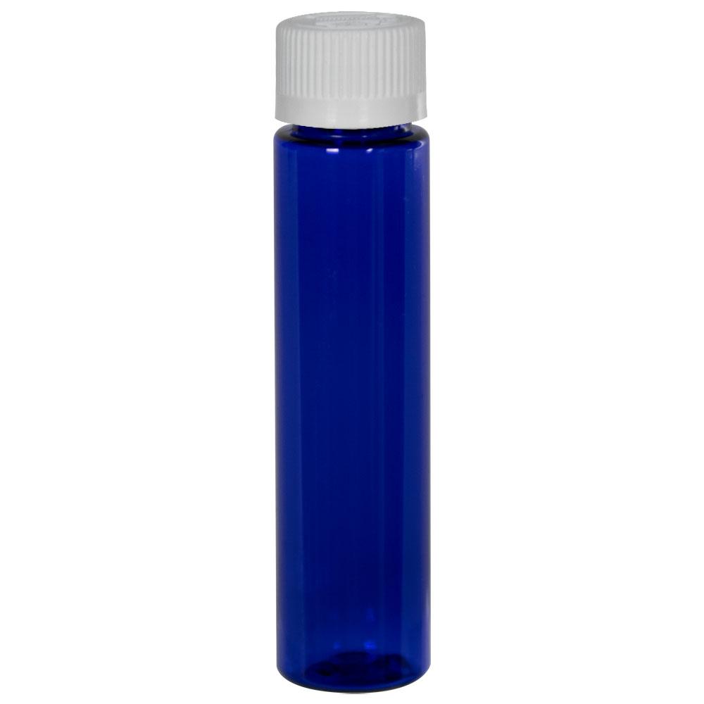1 oz. Cobalt Blue Slim PET Cylinder Bottle with 20/410 CRC Cap