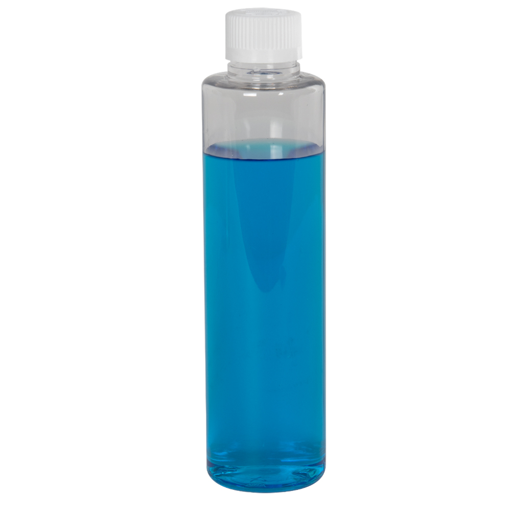 4 oz. Clear Slim PET Cylinder Bottle with 24/410 CRC Cap with F217 Liner