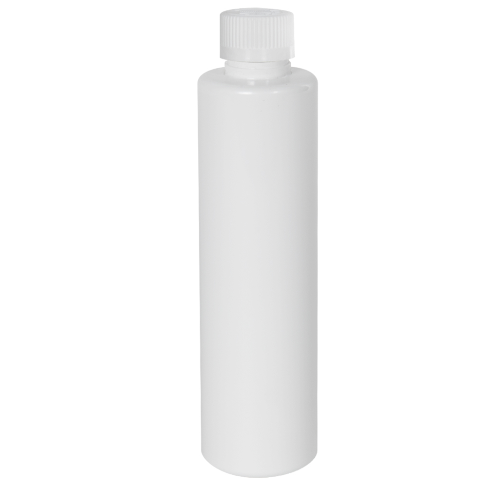 6 oz. White Slim PET Cylinder Bottle with 24/410 CRC Cap