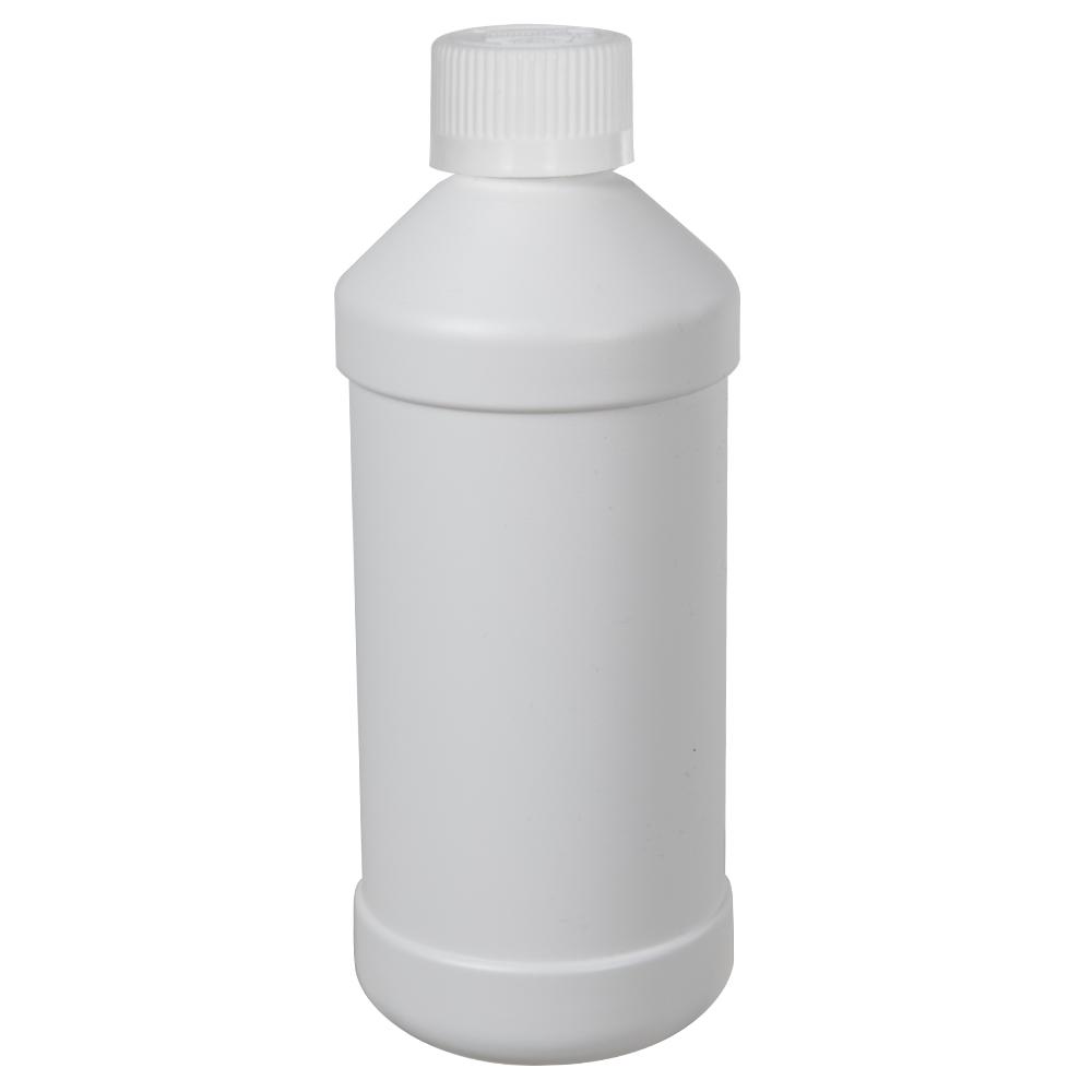 16 oz. White HDPE Modern Round Bottle with 28/410 CRC Cap