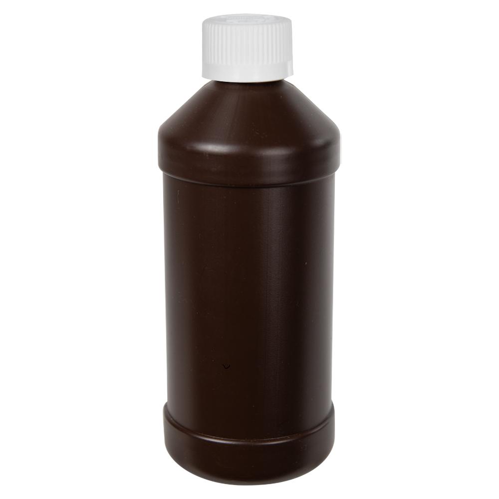 16 oz. Brown HDPE Modern Round Bottle with 28/410 CRC Cap