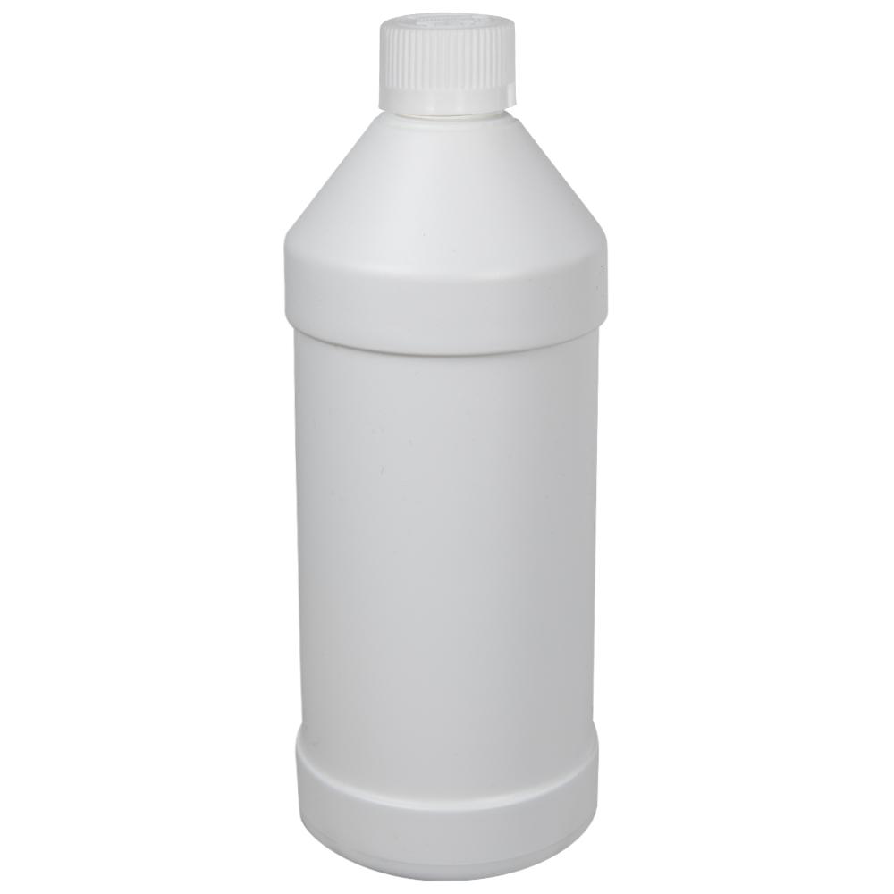 32 oz. White HDPE Modern Round Bottle with 28/410 CRC Cap