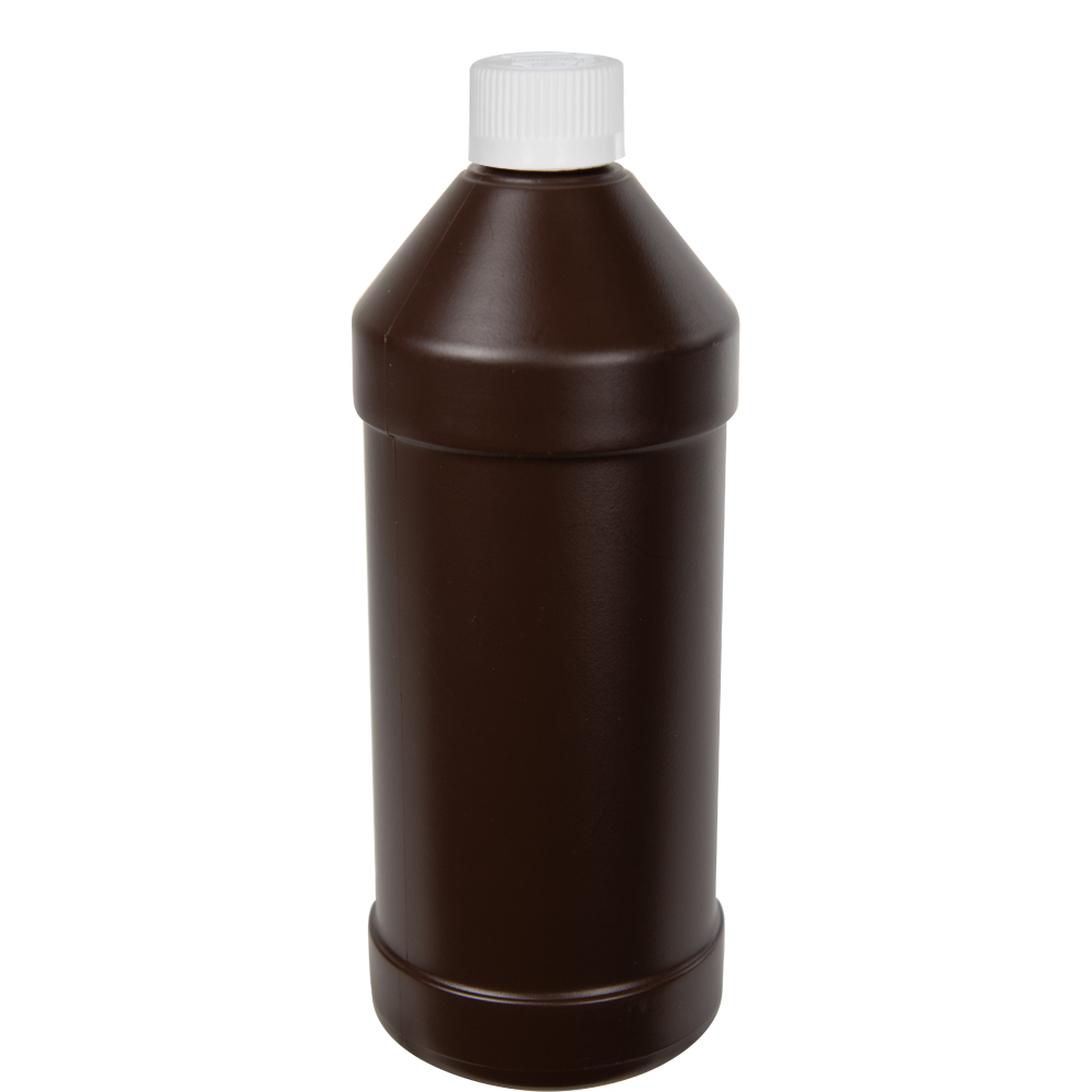 32 oz. Brown HDPE Modern Round Bottle with 28/410 CRC Cap with F217 Liner