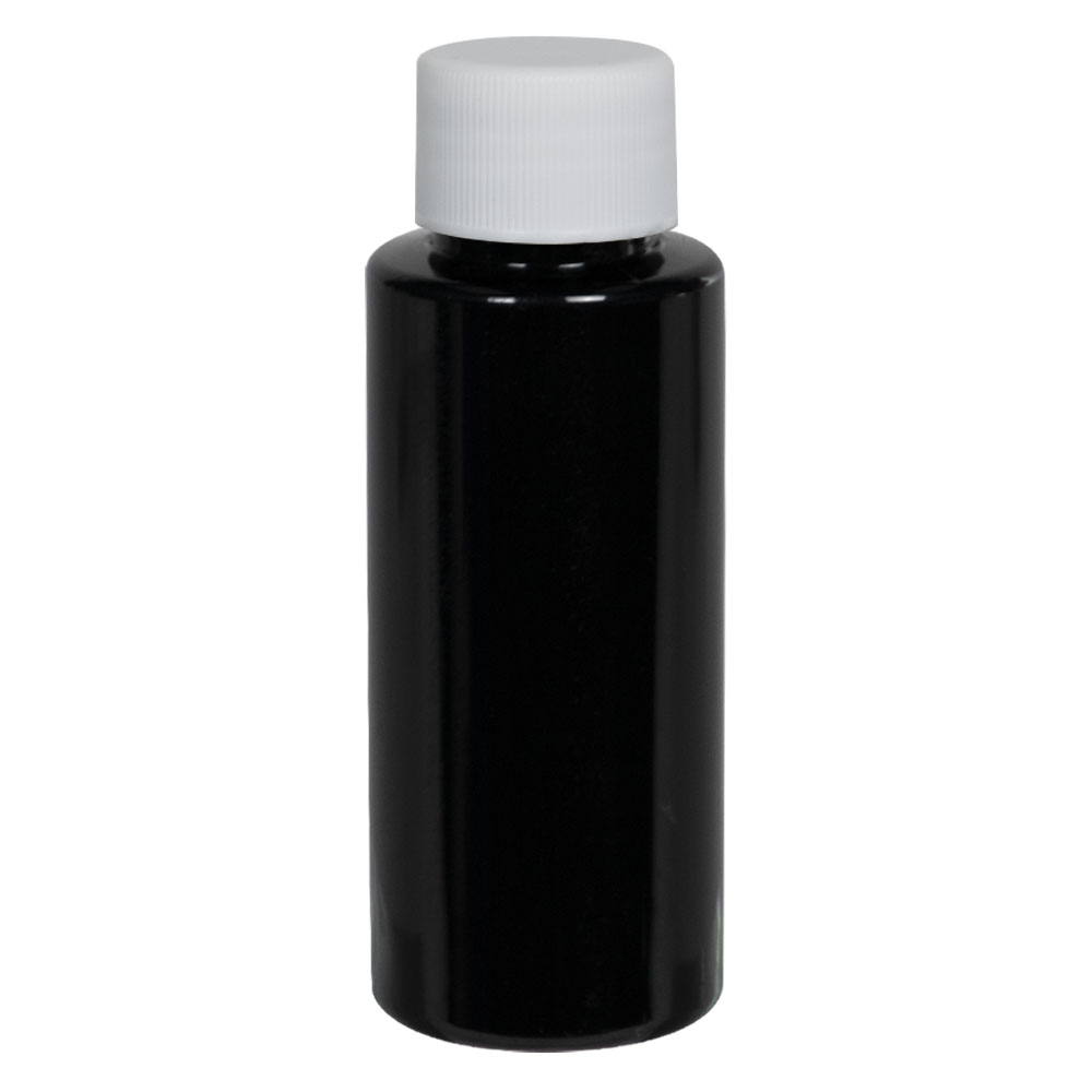 1 oz. Black PET Cylindrical Bottle with 20/410 Plain Cap