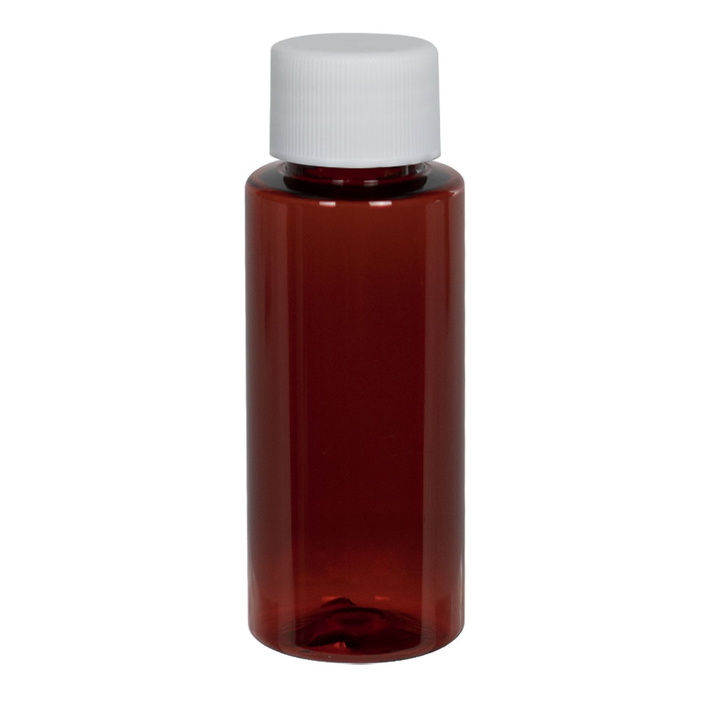 1 oz. Amber PET Cylindrical Bottle with 20/410 Plain Cap