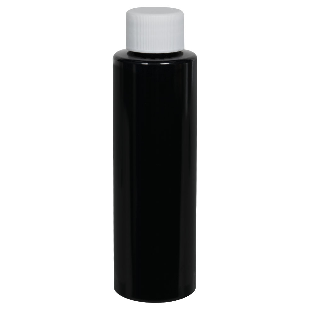 4 oz. Black PET Cylindrical Bottle with 20/410 Plain Cap
