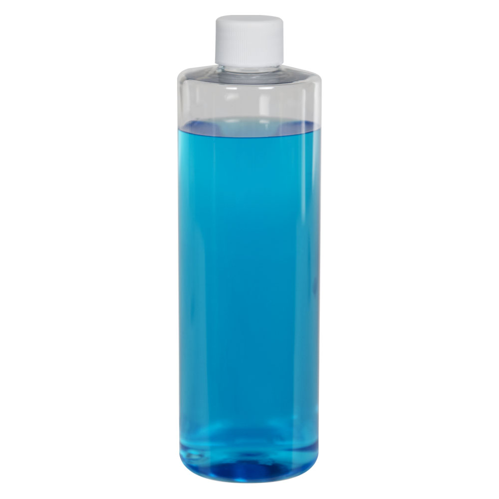 12 oz. Clear PET Cylindrical Bottle with 24/410 Plain Cap