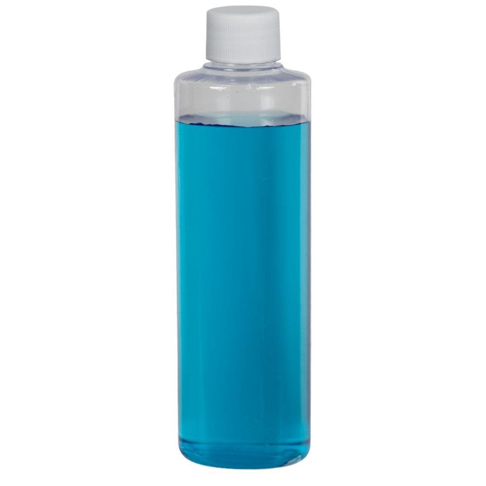 8 oz. Clear PVC Cylindrical Bottle with 24/410 Plain Cap