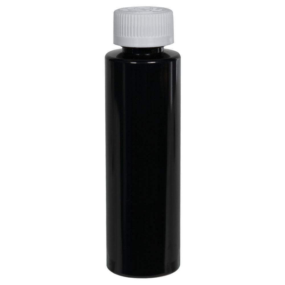 4 oz. Black PET Cylindrical Bottle with 20/410 CRC Cap
