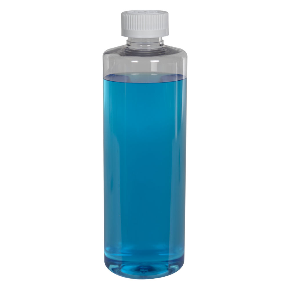16 oz. Clear PET Cylindrical Bottle with 28/410 CRC Cap