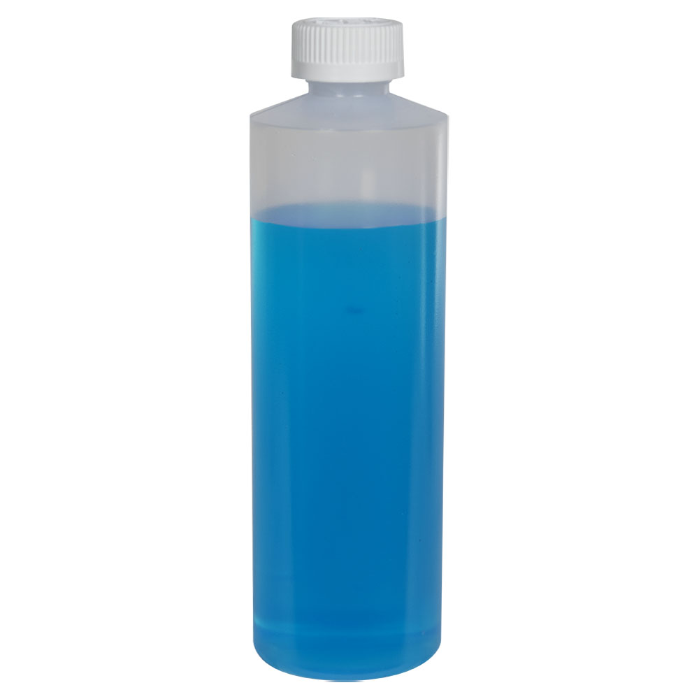 16 oz. Natural LDPE Cylindrical Bottle with 28/410 CRC Cap