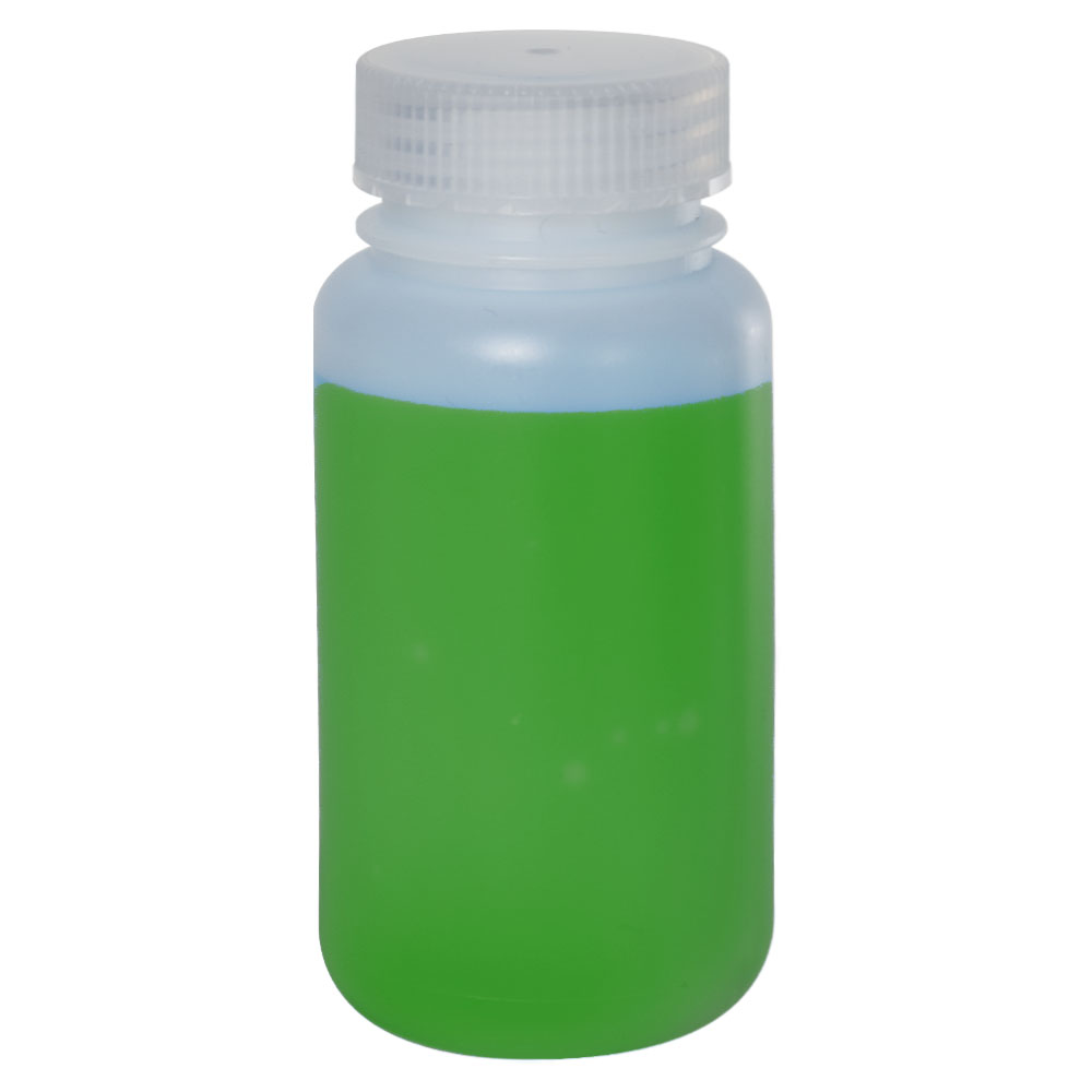 250mL HDPE Wide Mouth Bottle with 43/415 Polypropylene Cap