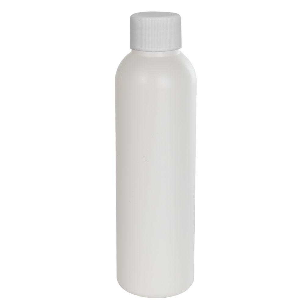 4 oz. HDPE White Cosmo Bottle with Plain 24/410 Cap