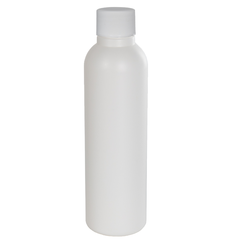 4 oz. HDPE White Tall Cosmo Bottle with Plain 24/410 Cap