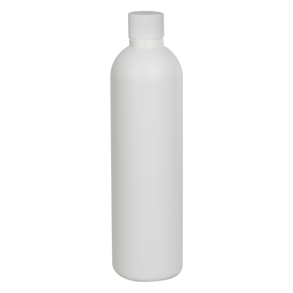 8 oz. HDPE White Cosmo Bottle with Plain 24/410 Cap with F217 Liner