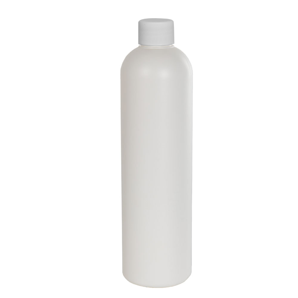12 oz. HDPE White Cosmo Bottle with Plain 24/410 Cap