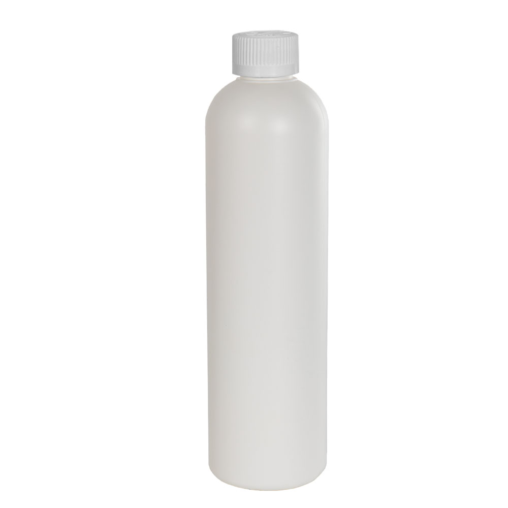 12 oz. HDPE White Cosmo Bottle with CRC 24/410 Cap