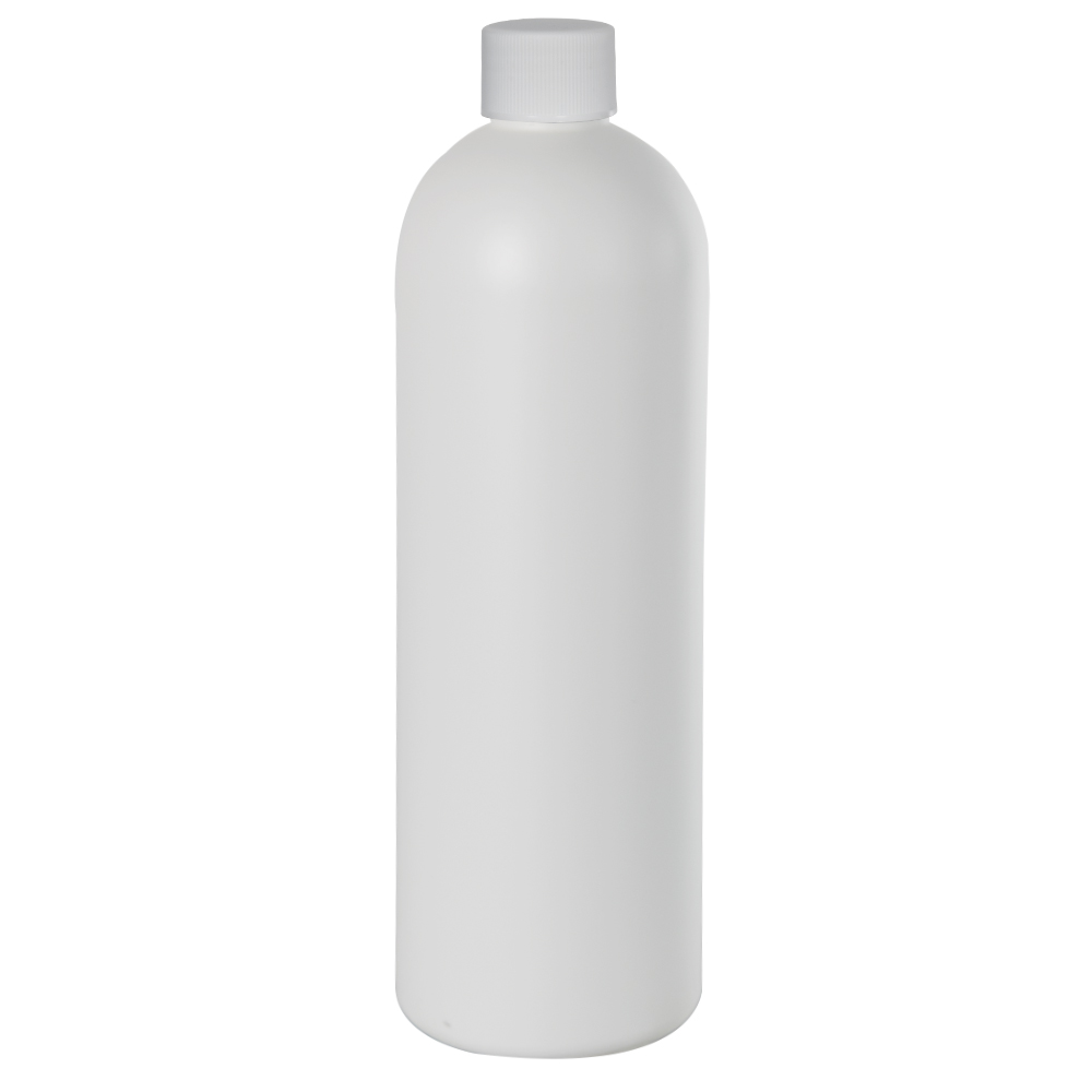16 oz. HDPE White Cosmo Bottle with Plain 24/410 Cap with F217 Liner