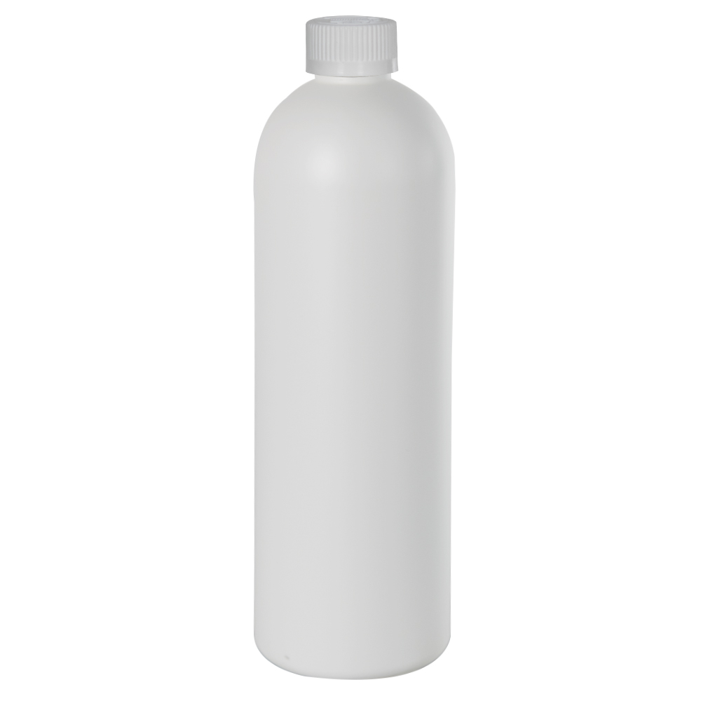 16 oz. HDPE White Cosmo Bottle with CRC 24/410 Cap