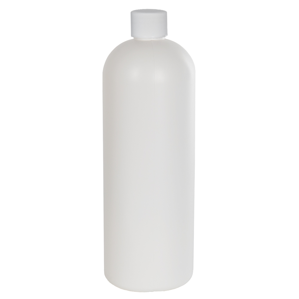 32 oz. HDPE White Tall Cosmo Bottle with Plain 28/410 Cap