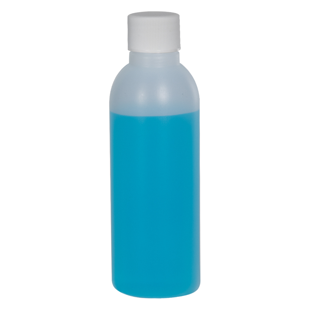 2 oz. HDPE Natural Cosmo Bottle with Plain 20/410 Cap with F217 Liner