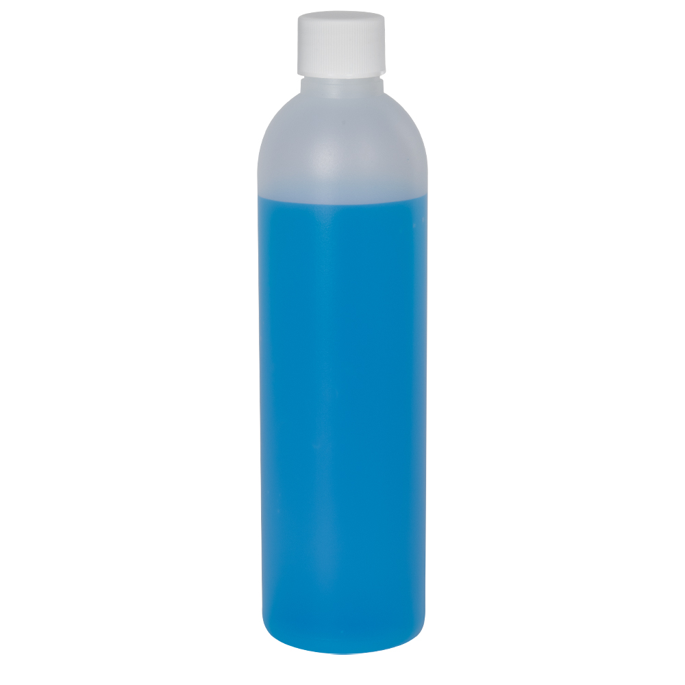 8 oz. HDPE Natural Cosmo Bottle with Plain 24/410 Cap