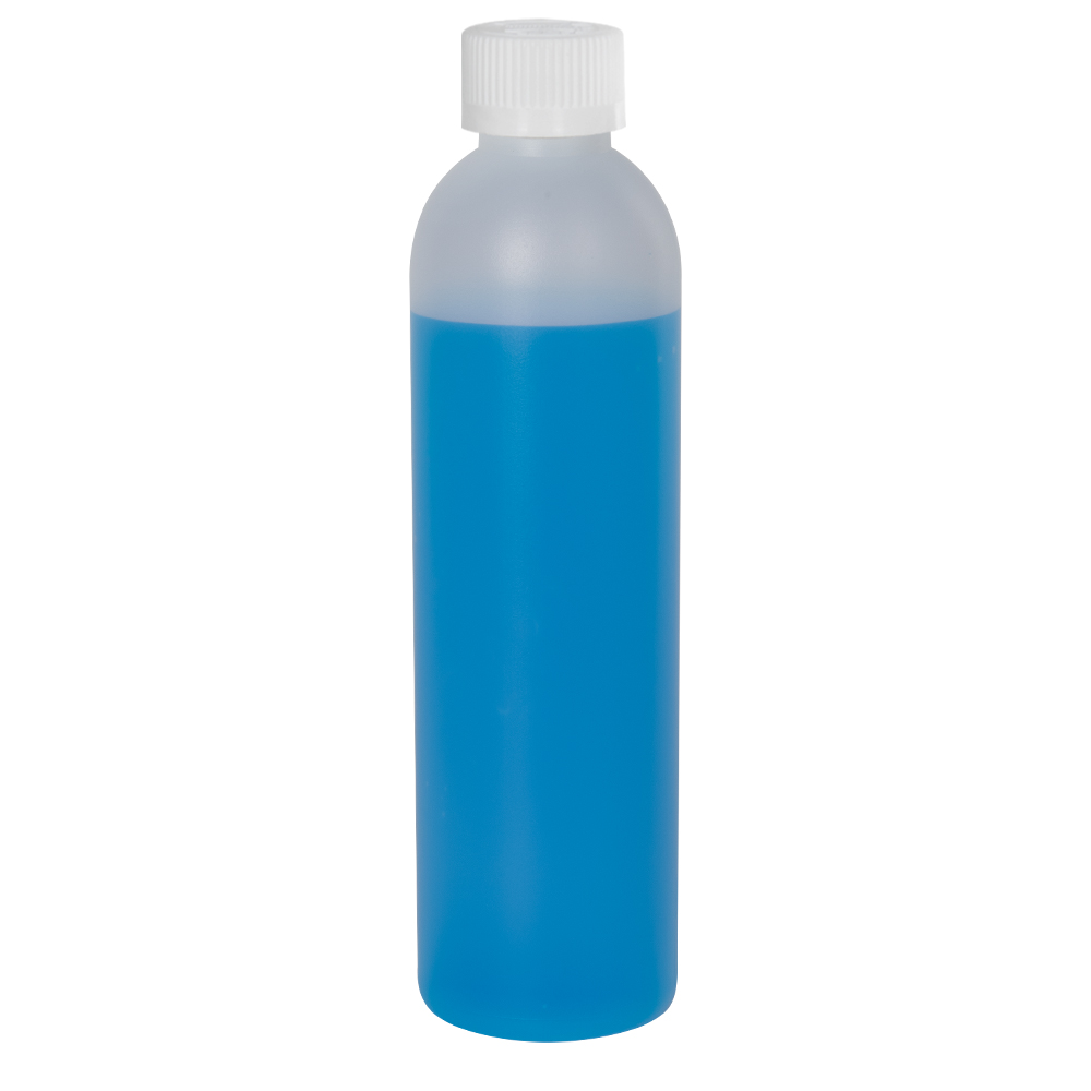8 oz. HDPE Natural Cosmo Bottle with CRC 24/410 Cap with F217 Liner