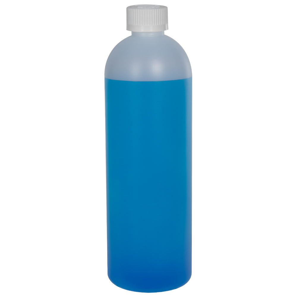 16 oz. HDPE Natural Cosmo Bottle with CRC 24/410 Cap with F217 Liner
