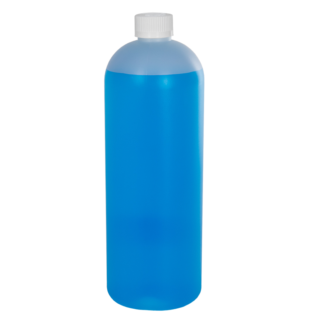 32 oz. HDPE Natural Tall Cosmo Bottle with CRC 28/410 Cap