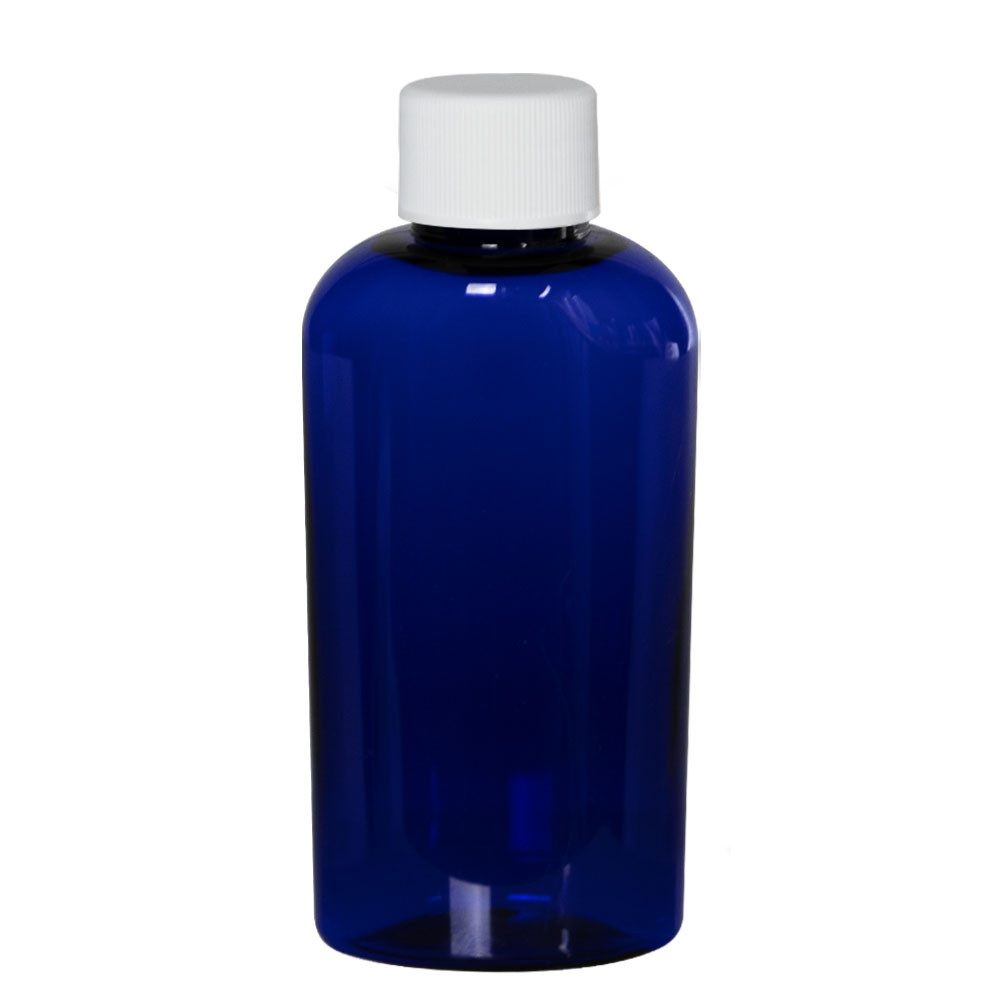2 oz. Cobalt Blue PET Cosmo Oval Bottle with Plain 20/410 Cap