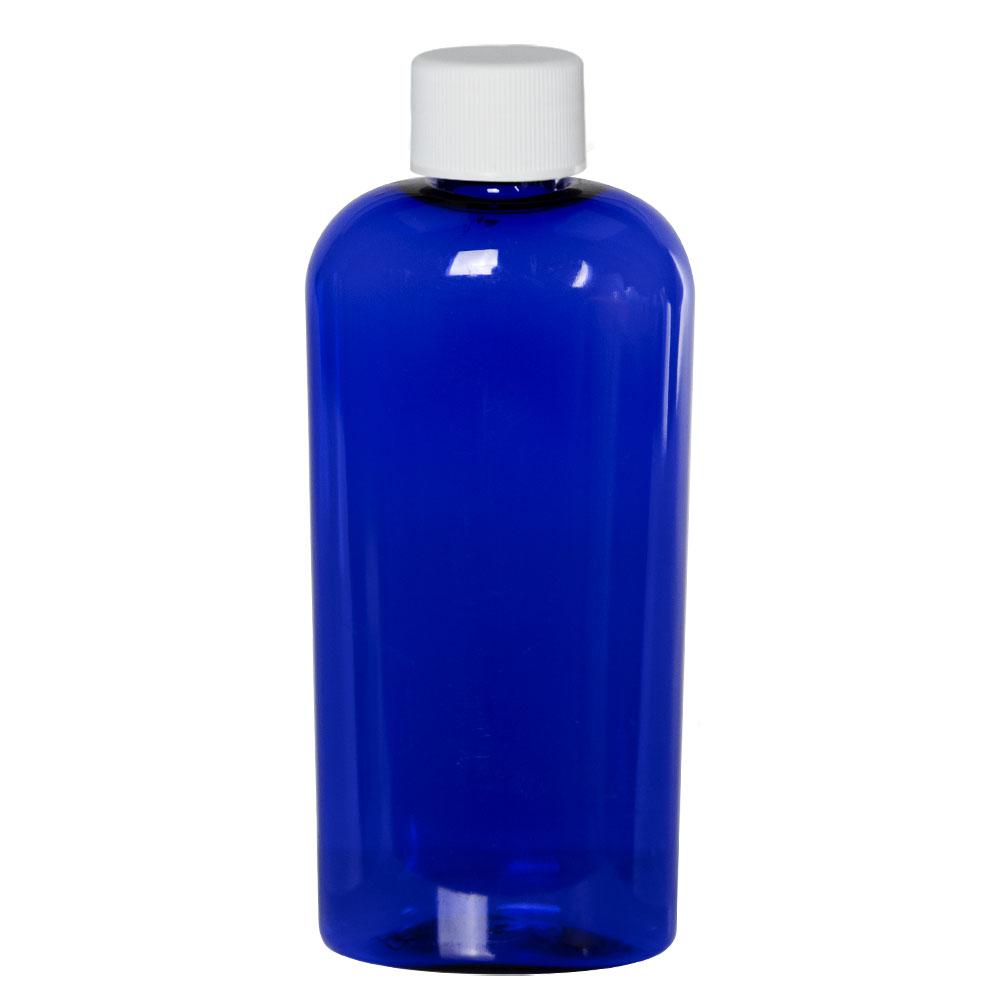 4 oz. Cobalt Blue PET Cosmo Oval Bottle with Plain 20/410 Cap