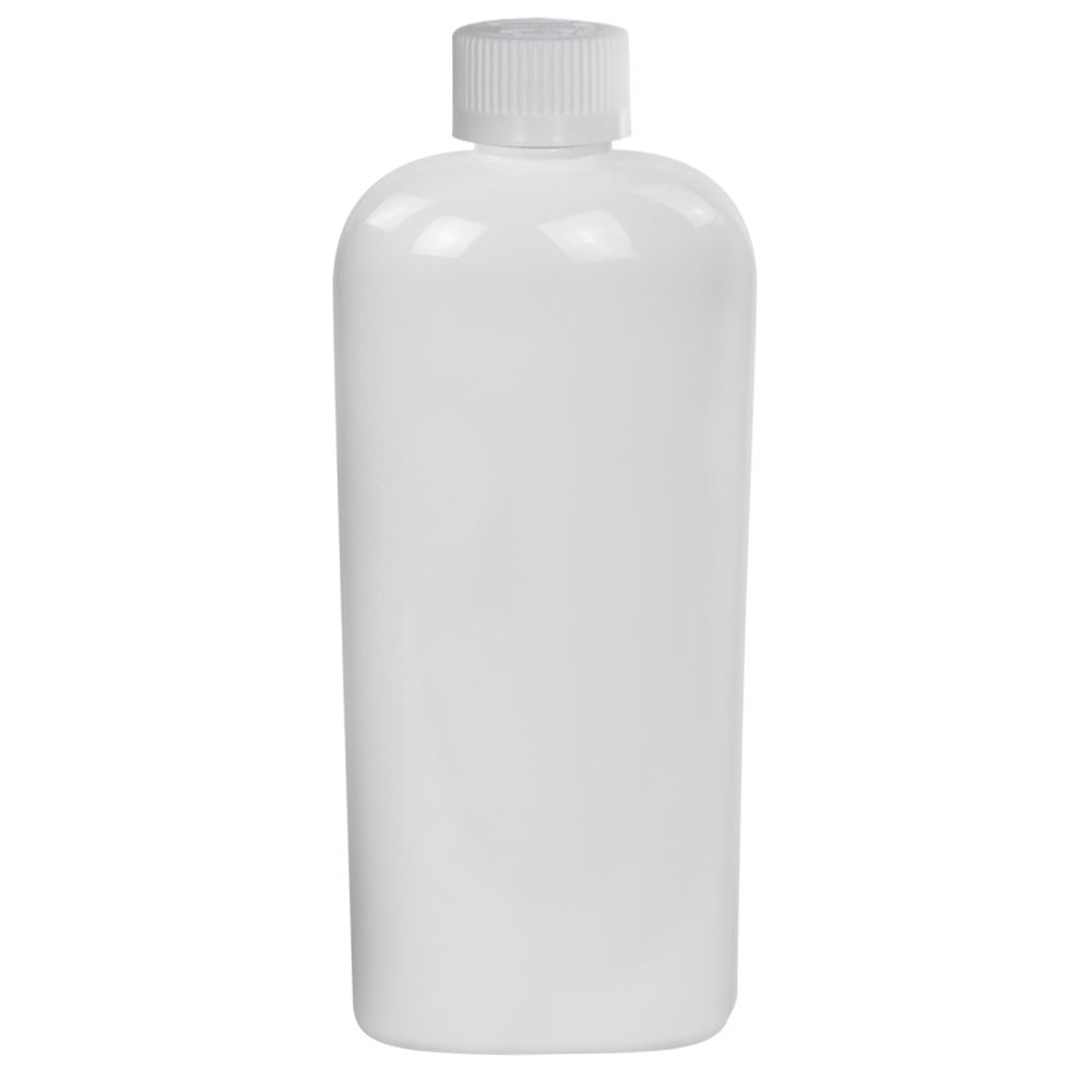 8 oz. White PET Cosmo Oval Bottle with CRC 24/410 Cap with F217 Liner