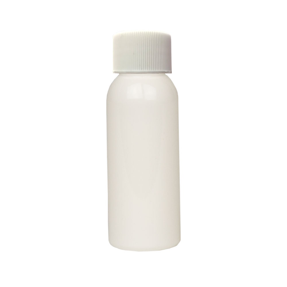 1 oz. White PET Cosmo Round Bottle with Plain 20/410 Cap