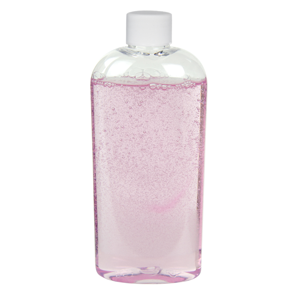4 oz. Clear PET Cosmo High Clarity Oval Bottle with Plain 20/410 Cap with F217 Liner