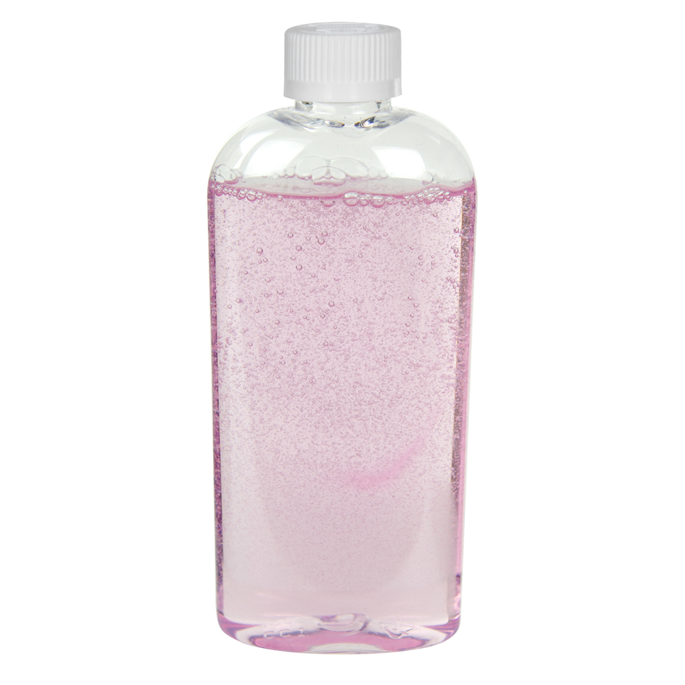 6 oz. Clear PET Cosmo High Clarity Oval Bottle with CRC 24/410 Cap