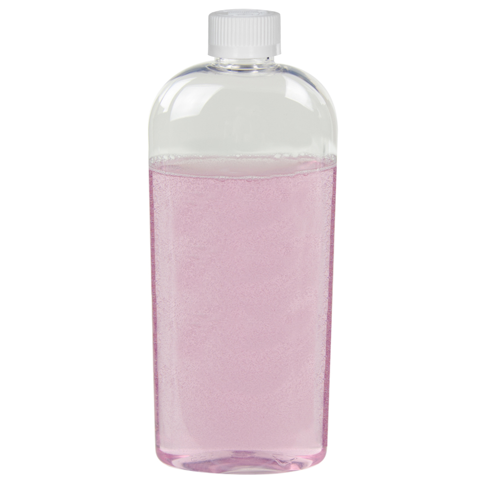 12 oz. Clear PET Cosmo High Clarity Oval Bottle with CRC 24/410 Cap with F217 Liner