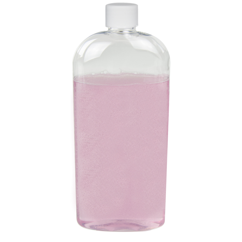 16 oz. Clear PET Cosmo High Clarity Oval Bottle with Plain 24/410 Cap