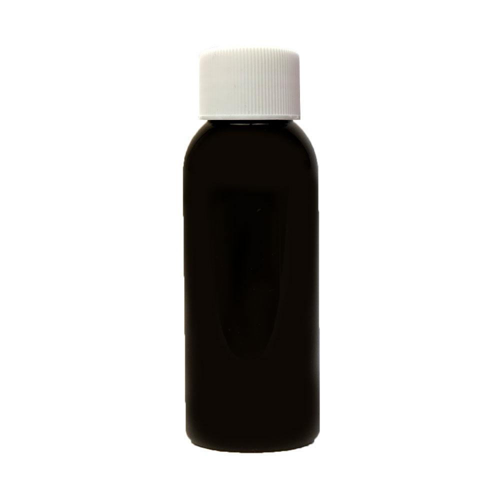 1 oz. Black PET Cosmo Round Bottle with Plain 20/410 Cap