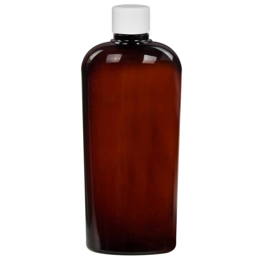 15.2 oz. Amber PET Vale High Clarity Oval Bottle with Plain 28/410 Cap