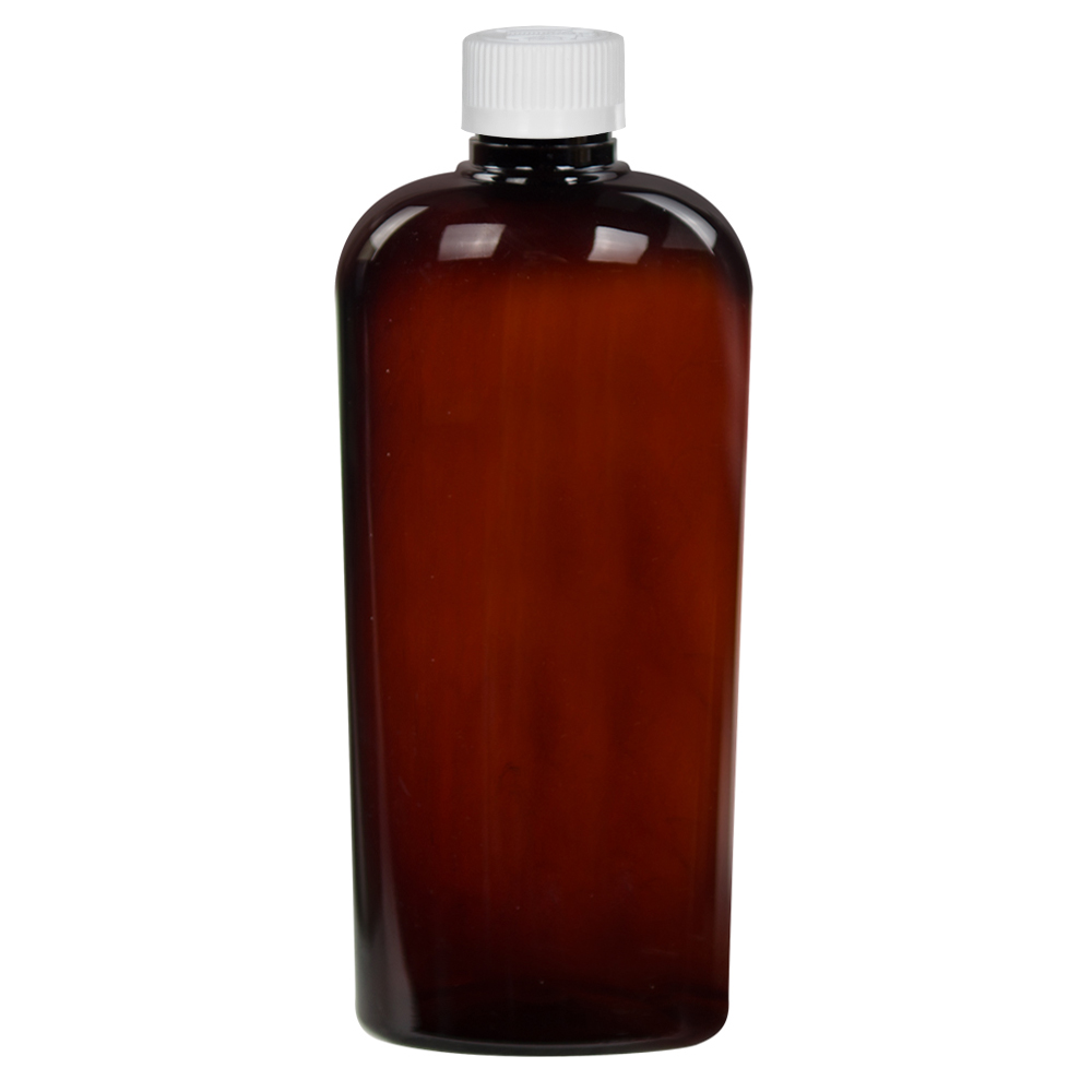 15.2 oz. Amber PET Vale High Clarity Oval Bottle with CRC 28/410 Cap with F217 Liner