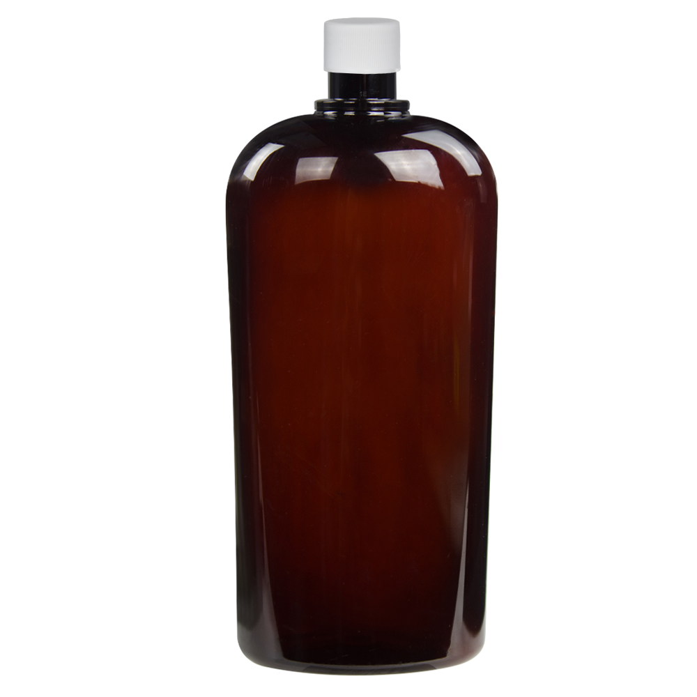 32 oz. Amber PET Vale High Clarity Oval Bottle with Plain 28/415 Cap